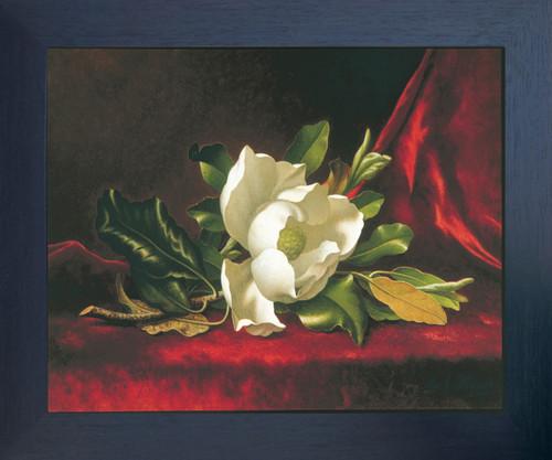 White Magnolia Flower Floral Grandiflora Martin Heade Fine Wall Decor Espresso Framed Art Print Poster (18x24)