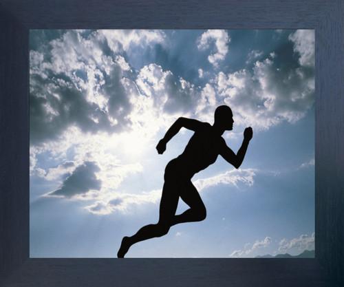 Running Athlete Motivational Ambition Espresso Framed Espresso Framed Art Print Poster (18x24)