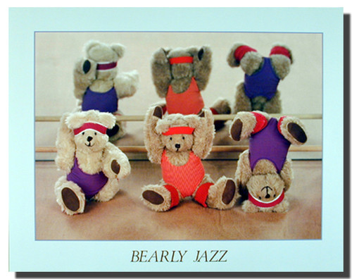 Bearly Jazz Cute Kids Stuffed Bear Dance Wall Decor Art Print Poster (16x20)