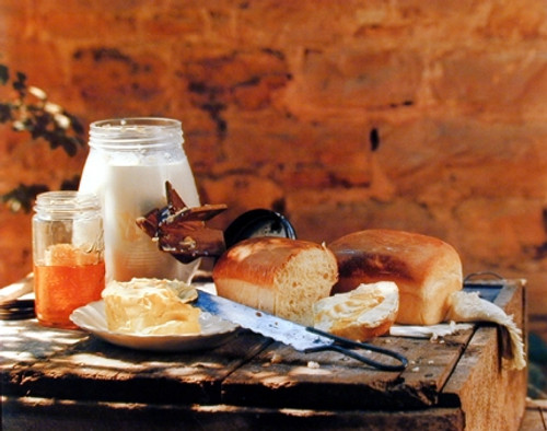 Homemade Country Bread Butter Gore Food Still Life Wall Decor Art Print Poster (16x20)