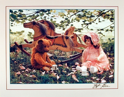 Country Rocking Horse Teddy Bear Doll Wall Decor Art Print Poster (16x20)