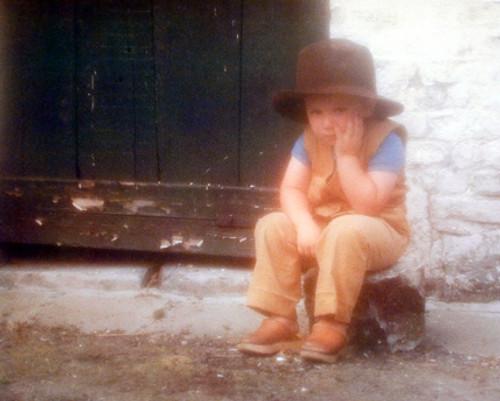 Boy Pondering on Stump Cute Kid Inspirational Wall Decor Art Print Poster (16x20)