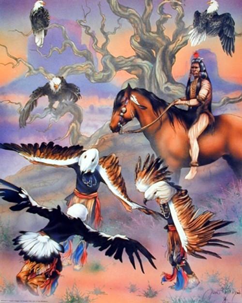 Native American Wisdom Eagle Dancing Painting Wall Decor Art Print Poster (16x20)