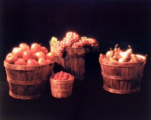 Baskets of Fruit (Apple, Grape & Pear) Still Life Wall Decor Art Print Poster (16x20)