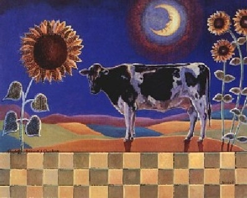 Country Cow and Sunflowers Floral Picture Wall Decor Art Print Poster (16x20)
