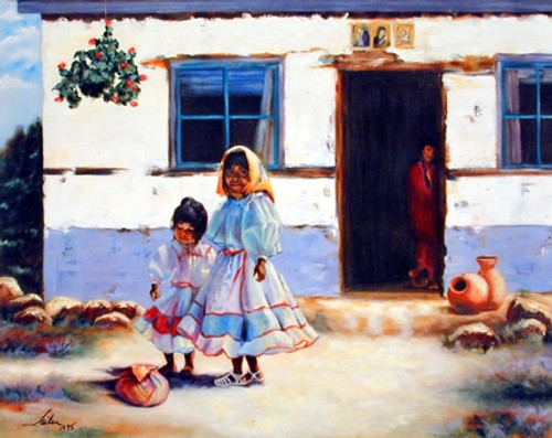 Old Mexican Lady with Children Wall Decor Art Print Poster (16x20)