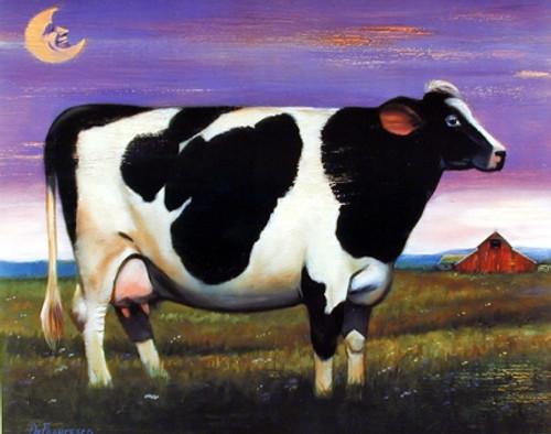 Moon Over Holstein Country Cow Farm Animal Wall Decor Art Print Poster (16x20)