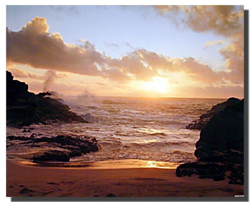 Coastal Sunrise on Ocean Beach Poster
