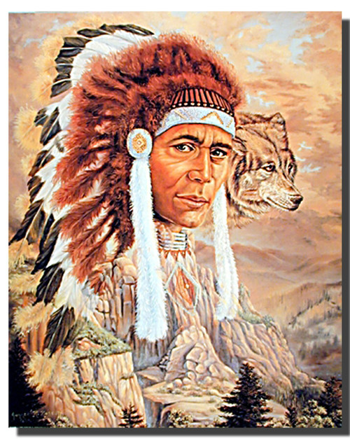 Indian Chief and Wolf Posters