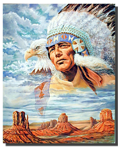 Indian Chief and Eagle Posters