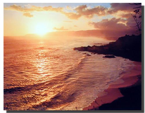 Coastal Sunset on Ocean Beach Poster
