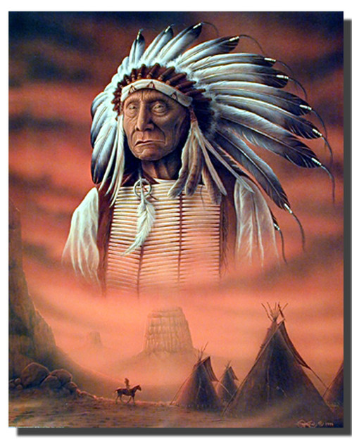 Chief With Teepee Native American Posters