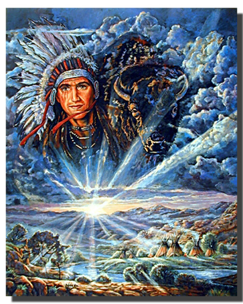 Indian Chief and Tepees Native American Posters