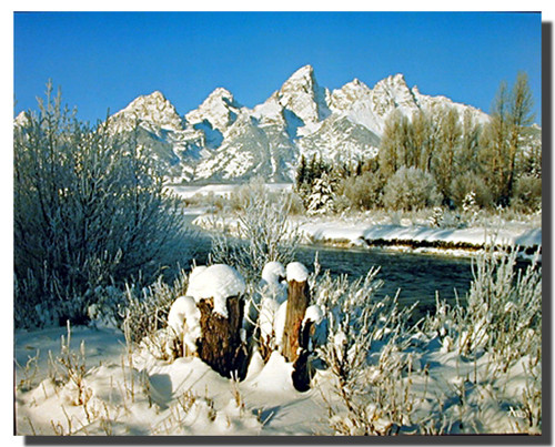 Grand Teton in Snow Posters