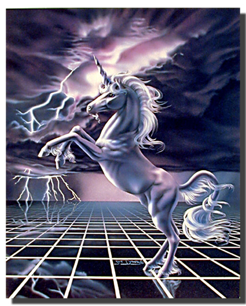 White Unicorn Poster- Lightning