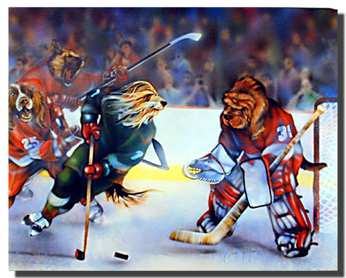 Dogs Playing Hockey Poster