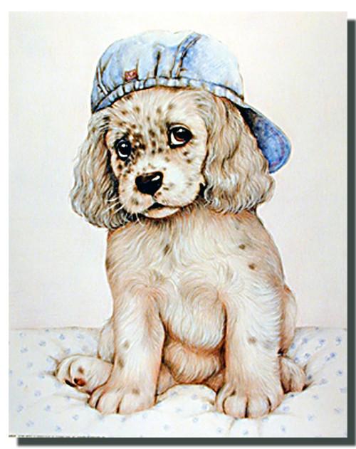 Spaniel Pup in Cap Poster