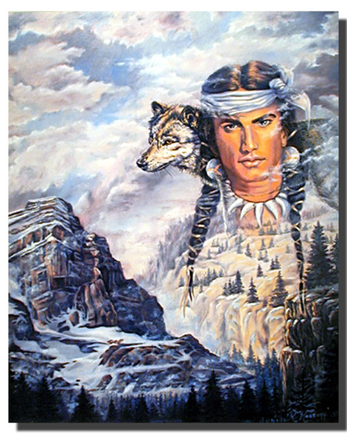 Indian Brave and Wolf Posters