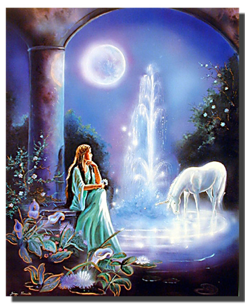 Unicorn Poster - Moonlit Garden