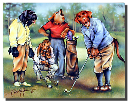 Dogs Playing Golf Poster