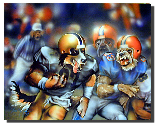 Dogs Playing Football Poster