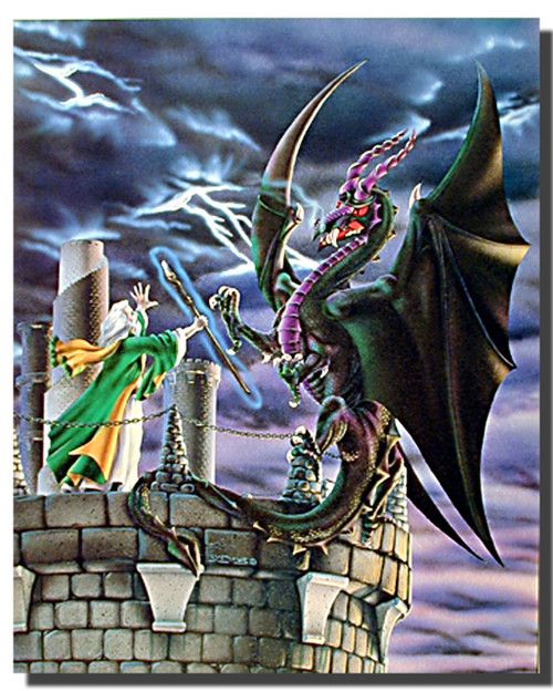 Storm Warning Dragon Wizard Poster- Fantasy