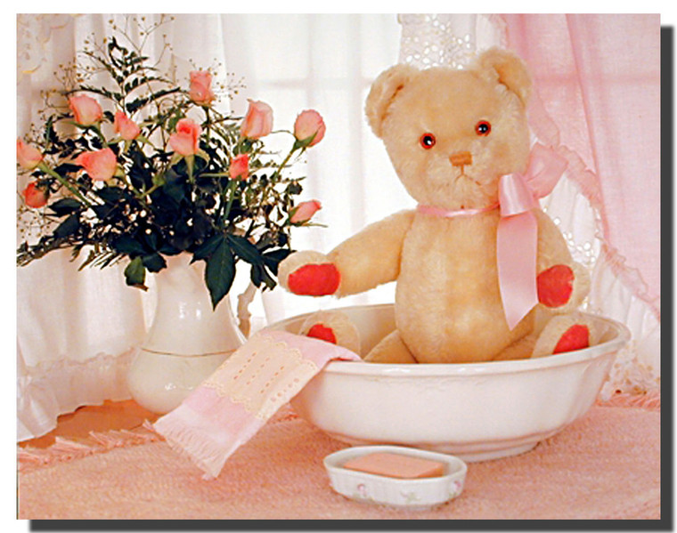 Pink Teddy in Washbowl Posters