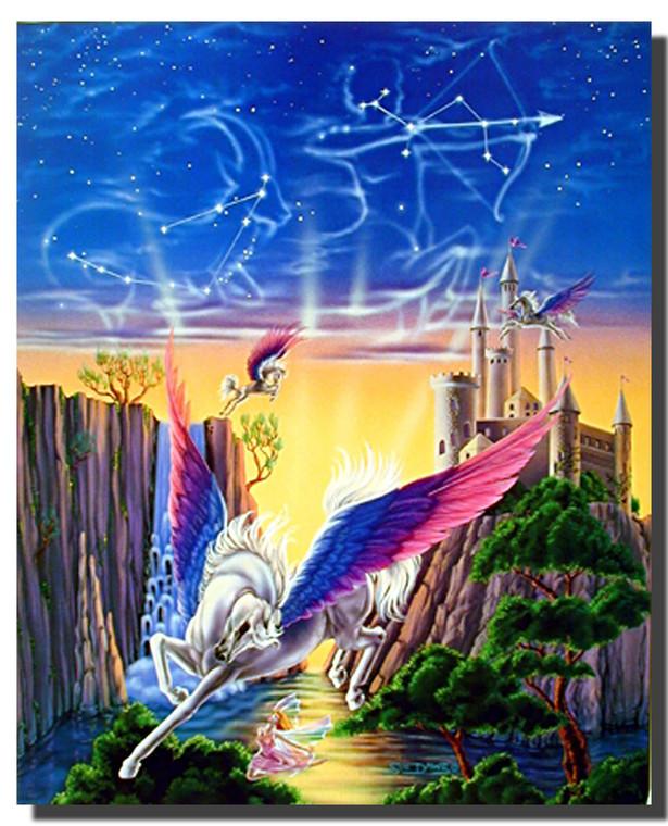 Pegasus Castle Poster- Fantasy