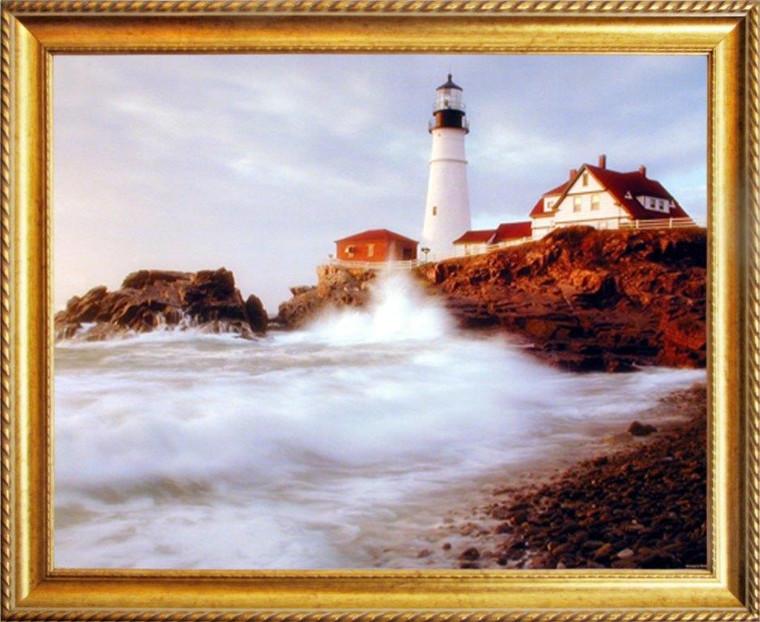 Portland Maine Lighthouse Ocean Framed Poster