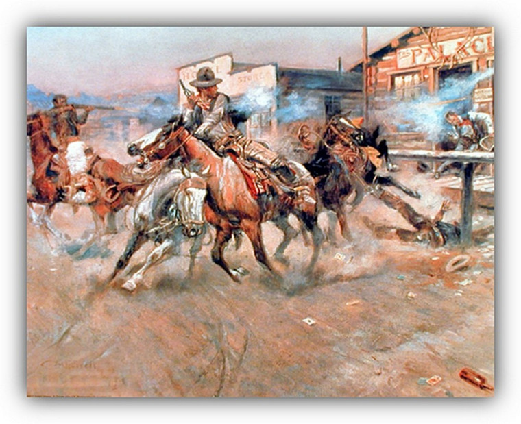 Charles Marion Russell Smoke of a 45 Cowboys Wild West Wall Decor Art Print Poster (16x20)
