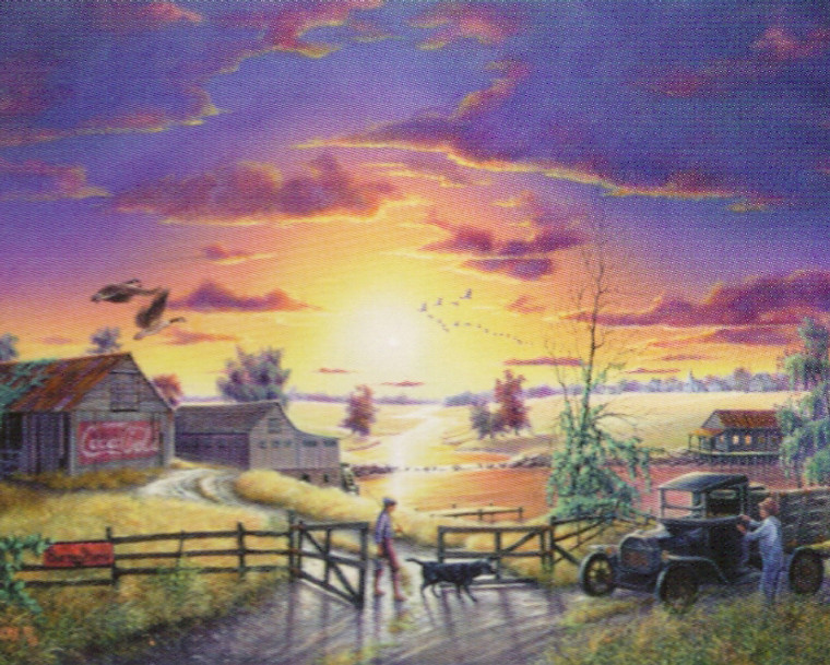 Old Barn With Coca Cola Sign Sunrise Scenery Nature wall Decor Art Print Poster (16x20)