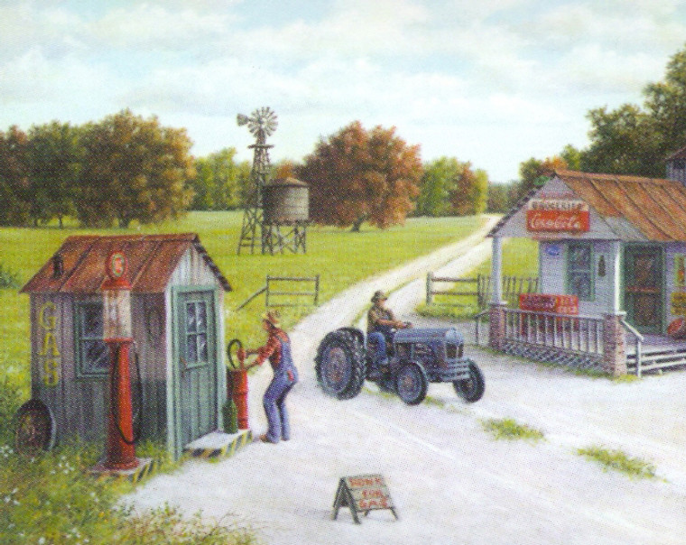 Vintage Gas Station Country Coca Cola Store Painting Landscape Wall Decor Art Print Poster (16x20)