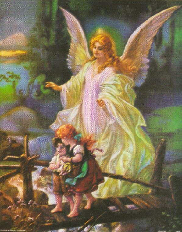 Guardian Angel With Children On Bridge Religious Wall Decor Art Print Poster (16x20)