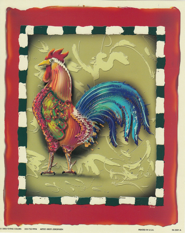 Colorful Chicken Rooster 2 Still Life Animal Wall Decor Art Print Poster (16x20)