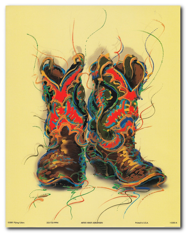 Western Cowboy Boots Rodeo Contemporary Wall Decor Art Print Poster (16x20)