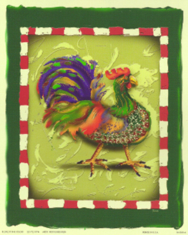 Blue And Green Chicken Rooster Still Life Animal Wall Decor Art Print Poster (16x20)