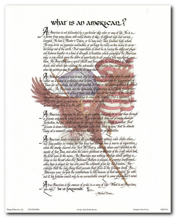 """What Is an American"" Motivational & Inspirational Wall Decor Art Print Poster (16x20)"