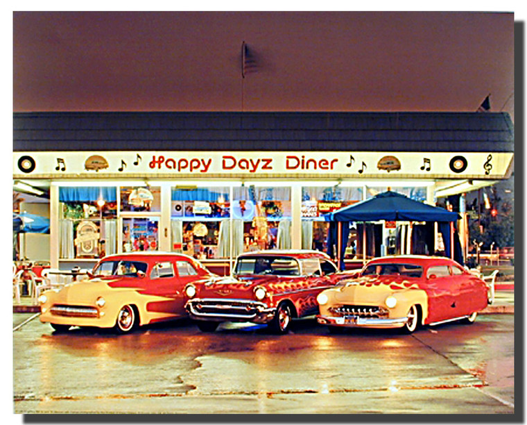 Happy Days Diner 57 Chevy Bel Air 50's Mercury Posters