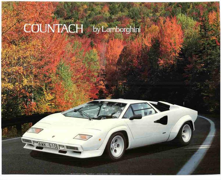 Lamborghini Engine Countach Sports Car Wall Art Print Poster (16x20)