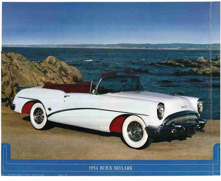 1954 Buick Skylark Convertible Classic Vintage Car Art Print Wall Poster (16x20)
