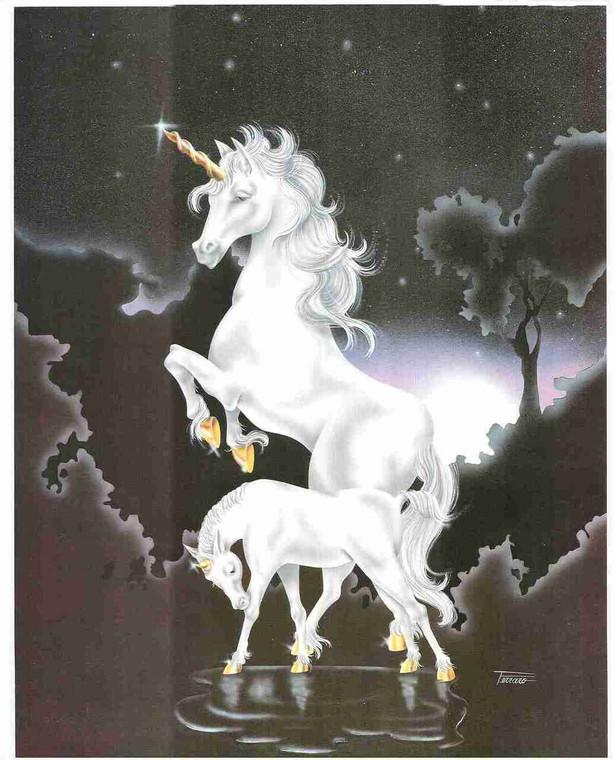 Mythical Unicorn White Horse Sue Dawe Moonwind Wall Art Print Poster (16x20)