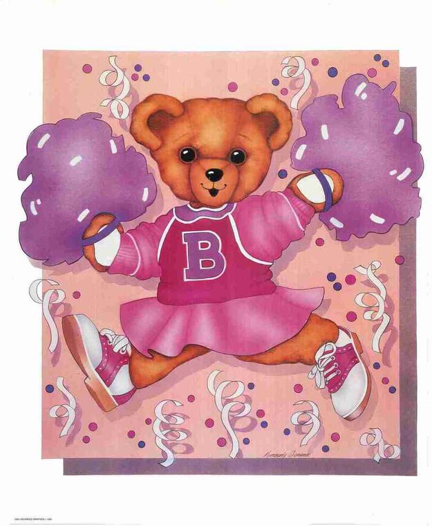 Ballerina Teddy Bear Pink Dress Kids Room Decor Wall Art Print Poster (16x20)