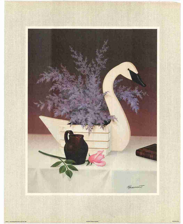 Pink Beautiful Flowers in Duck Vase Fine Art Wall Decor Print Poster (16x20)