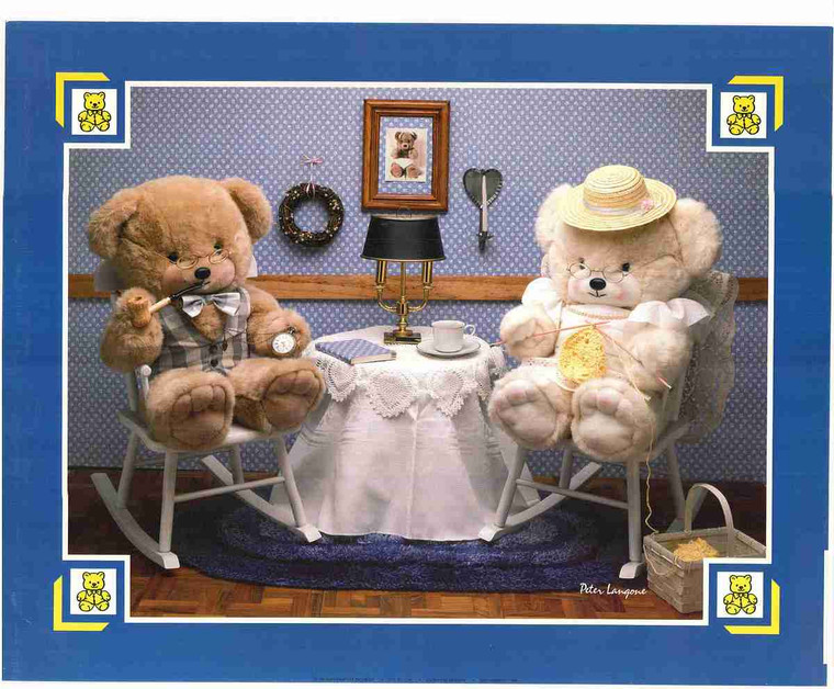 Two Cute Teddy Bear Sitting in Chair Kids Room Wall Art Print Poster (16x20)