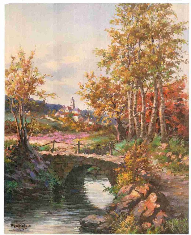 River in Forest Scenery Fine Art Landscape Wall Print Poster (16x20)