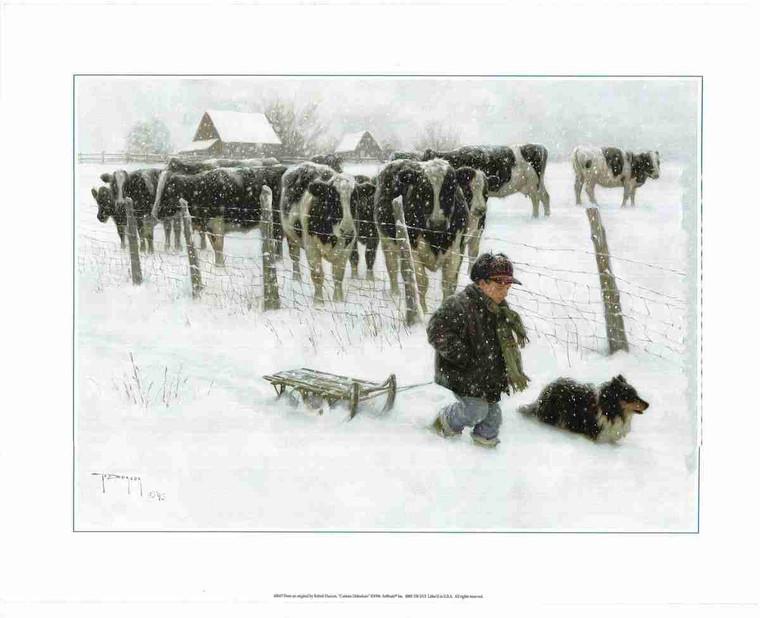 Cow Animal Snow Kids With Dog Wall Decor Art Print (16x20)