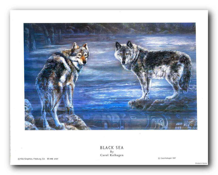 Wolf Couples in Snow Mountain Wall Decor Art Print Poster (11x14)