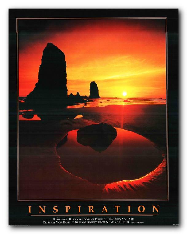 Inspiration Ocean Sunset Motivaional Wall Decor Art Print Poster (11x14)