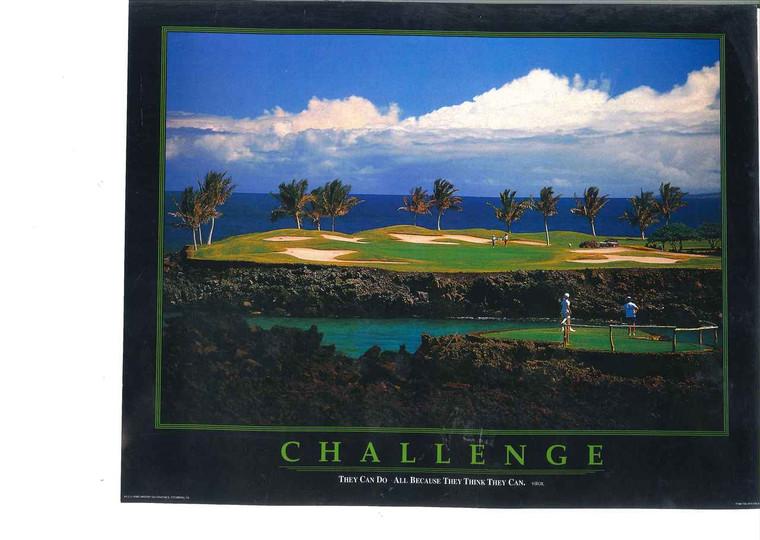 Challenge Golf Course Motivational Wall Decor Art Print Poster (11x14)