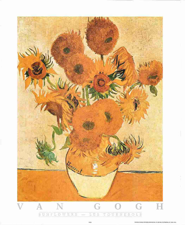 Sunflowers by Vincent van Gogh Floral Wall Decor Fine Art Print Poster (16x20)